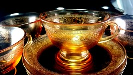 (4) SETS, AMBER DEPRESSION GLASS CUPS AND SAUCERS 1930's - $17.45