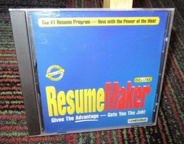 RESUME MAKER DELUXE PC CD-ROM SOFTWARE BY INDIVIDUAL, FOR WINDOWS 95, GUC - $6.99