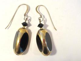 Sterling silver 925 goldtone with black stone dangle earrings - $12.00