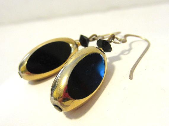 Sterling silver 925 goldtone with black stone dangle earrings