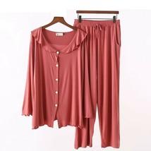 Women Pajamas Set Soft Sleepwear Two-piece Leaf Lapel Cardigan Casual Ho... - $48.99