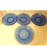 Cobalt Blue Moderntone Depression Glass Lot 3 Saucers 1 Sherbet Liner - $19.99