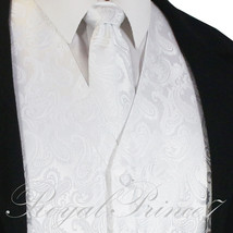 WHITE XS to 6XL Paisley Tuxedo Suit Dress Vest Waistcoat & Neck tie Wedd... - $20.77+