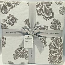 Berkshire Damask Twin Blanket Gray White 50% Cotton 50% Linen - $71.28