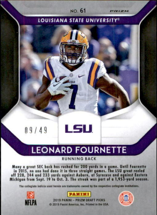 Leonard Fournette 2019 Panini Prizm Draft Mojo Parallel Card #61 9/49