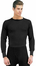 Black Cold Weather Winter Thermals Knit Underwear Shirt Top Long Johns - $13.99+