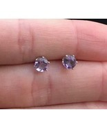 AMETHYST round-cut gemstone Stud EARRINGS in Sterling Silver - Vintage - $33.00