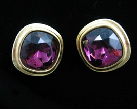 Yves Saint Laurent EARRINGS FACETED PURPLE GLASS Clip On Couture Goldton... - $89.99