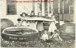 A Melon Party North Orwell Pennsylvania 1911 Post Card - $5.00