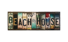 Beach House License Plate Strip Novelty Wood Sign WS-017 - $57.66