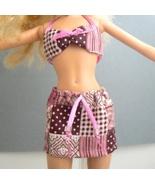 Barbie Outfit - Handmade Bikini Top & Skirt - Pink Squares - $1.99