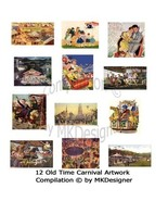 Old Time Carnival Artwork 12 Scenes - Digital Collage Sheet - $1.00