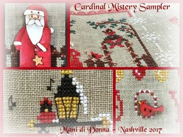 Cardinal Mystery Sampler Part 1 In The Garden cross stitch chart Mani di Donna  - $7.20
