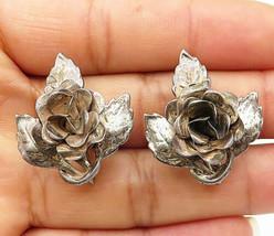 DANECRAFT 925 Silver - Vintage Sculpted Flower Screw Back Earrings - E4809 - $36.58