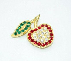Green Red White Clear Rhinestone Apple Heavy Gold Tone Vintage Pin Brooch - $19.79