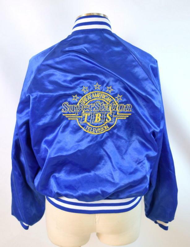 Vintage 80s Blue Satin Jacket TBS Super Station Windbreaker Retro Mens Size S image 2