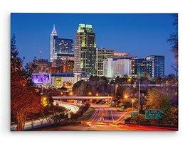 "Raleigh North Carolina at Night Skyline Brushed Aluminum Metal Print (20"" x 11"") - $74.20"