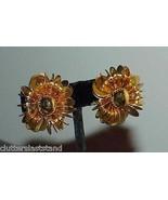Vintage 18K Gold Plate GP Pinwheel Runway Clip Earrings Jumbo Huge Haute... - $69.29
