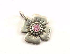Vintage Authentic Pandora Pink CZ Flower Pendant 925 Sterling PD 1348-E - $32.23