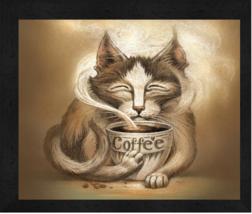 """""""Coffee Cat"""" by Jeff Haynie 13 x 16 Licensed Artwork Print - $39.95"""