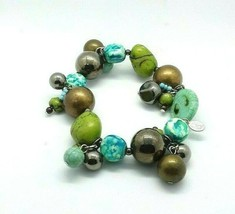 Chico's Womens Turquoise Blue Green Brown Beaded Stretch Bracelet EUC  - $7.66