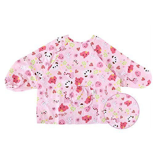 Pink Cotton Waterproof Sleeved Bib Baby Feeding Bibs Art Smock, 2 PCS£¬2-4 Years