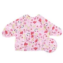 Pink Cotton Waterproof Sleeved Bib Baby Feeding Bibs Art Smock, 2 PCS£¬2-4 Years image 1