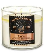 Bath & Body Works Aromatherapy Black Chamomile 3 Wick 14.5 Ounces Scente... - $23.95