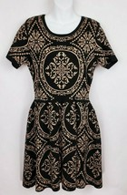 Romeo & Juliet Couture Dress Sweater Ponte Knit Black Tan Damask Size Large - $19.79