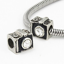 CZ Film snapshot memories black camera charm bead for European Bracelet  - $12.99