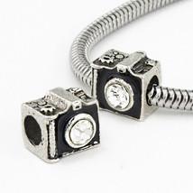 CZ Film snapshot memories black camera charm bead for European Bracelet - $12.99