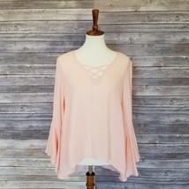 New Women's sz S peach long bell sleeves hi-lo hem slit on back blouse (... - $9.00