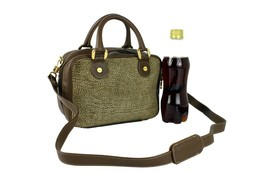 BORBONESE Redwall Quail Pattern Brown Canvas Small 2 Way Bag Hand Bag Us... - $147.51