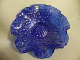 "Fenton CHERRY CHAIN Blue Carnival Glass 10"" Ruffled Bowl Contemporary - $75.00"