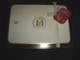 Hallmark Holiday Cards & Giftable Tin White & Gold Manger Set of 12 NEW - $19.75