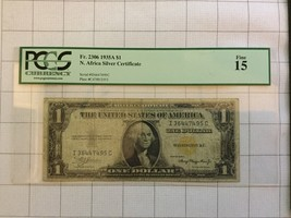 1935A North Africa Silver Certificate $1 Dollar Bank Note PCGS Fine 15 - $55.00
