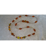 Orange beads glass Aurora Borealis crystal necklace Vintage Elegant Time... - $22.00