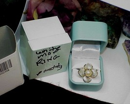 Ross Simons 18k Gold Sterling 10mm Pearl Mother Pearl Flower Ring Sz 9 N... - $178.19