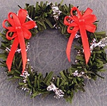 Christmas Wreath Red/Silver dhs4703 Doll House Shoppe Miniature - $8.46