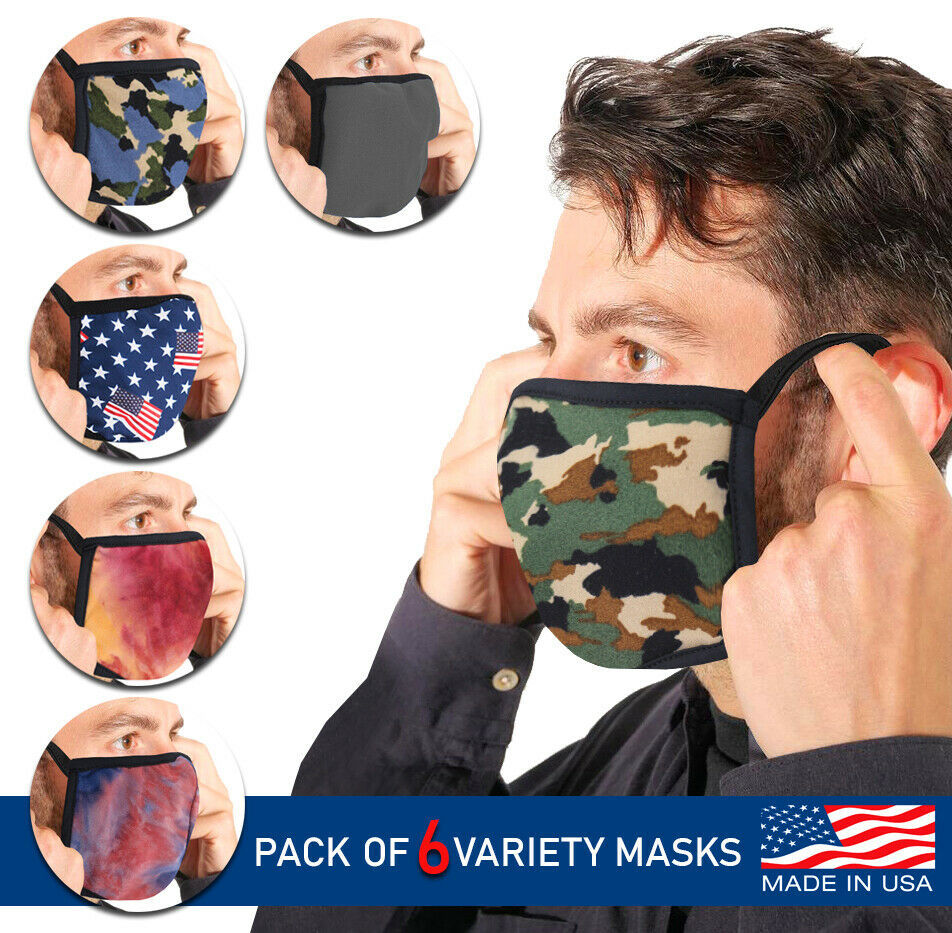Men's Reusable Camo Face Covers Cloth Protection Masks Made In The USA Lot of 6