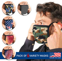 Men's Reusable Camo Face Covers Cloth Protection Masks Made In The USA Lot of 6 image 1