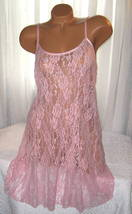 Stretch Lace Nightgown Slip Chemise 1X Plus Pink Short Gown  - $16.99