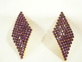 Sleek Sparkling Purple Rhinestones Clip Earring Diamond Shape Estate Mad... - $14.80
