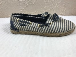 SPERRY Katama Marinier Womens Canvas Blue Stripe Nautical Boat Shoe Size 8M - $21.46