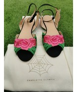 Auth Charlotte Olympia Pink/Green Fabric Ankle Strap Flat Sandals 37 US6... - $186.99