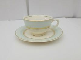 French Saxon China Co Tea Cup & Saucer Set 22kt Gold Trim Pottery USA Se... - $10.98
