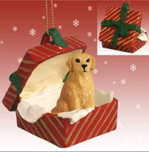 GOLDEN RETRIEVER DOG CHRISTMAS GIFT BOX ORNAMENT HOLIDAY Present PET - $14.95