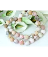 """Matte Pink Opal Natural Gemstones Round Beaded Necklace 20.5"""" - $53.00"""