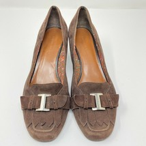Etienne Aigner Women Size 9 Square Toe Brown Suede Heels Fringed Tongue Buckle - $19.77