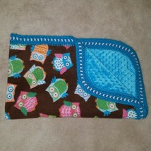 Brown Owls Baby Blanket Blue Minky Dot Crochet Trim Throw Lap Orange Blu... - $24.70